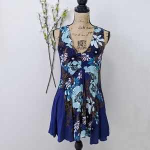 Free People Backyard Party Tunic Blue Floral XS
